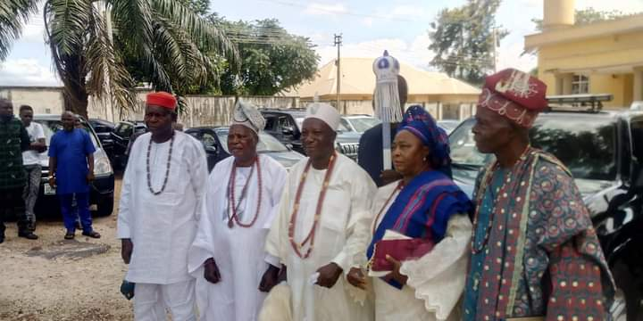 HRM Oba Festus Olatunji Olatunde The Onimesi of Imesi Land receives the instruments of office from the government of Ekiti state.